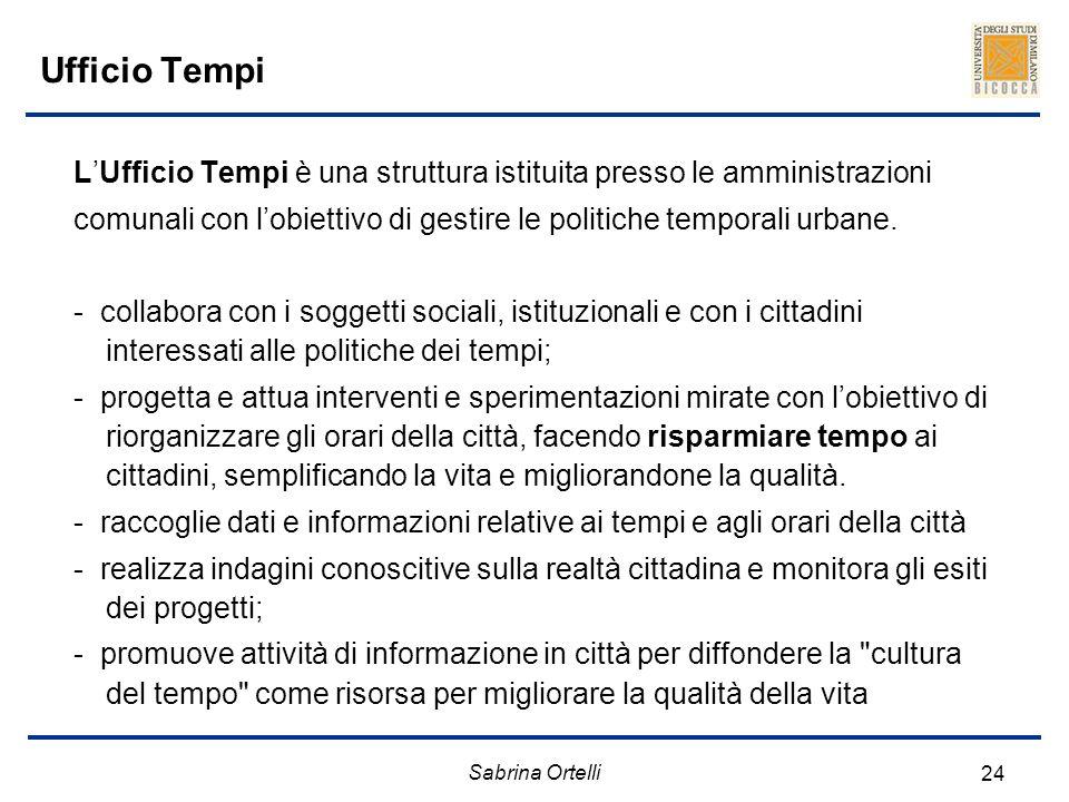 Sabrina Ortelli 24 Ufficio Tempi LUfficio Tempi è una struttura istituita presso le amministrazioni comunali con lobiettivo di gestire le politiche te