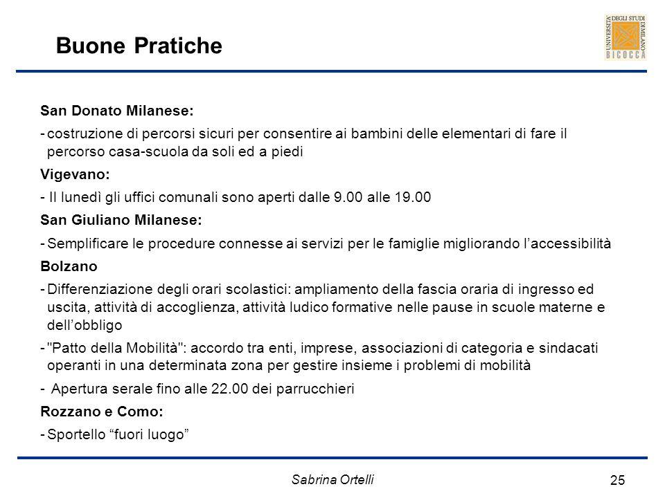 Sabrina Ortelli 25 Buone Pratiche San Donato Milanese: -costruzione di percorsi sicuri per consentire ai bambini delle elementari di fare il percorso