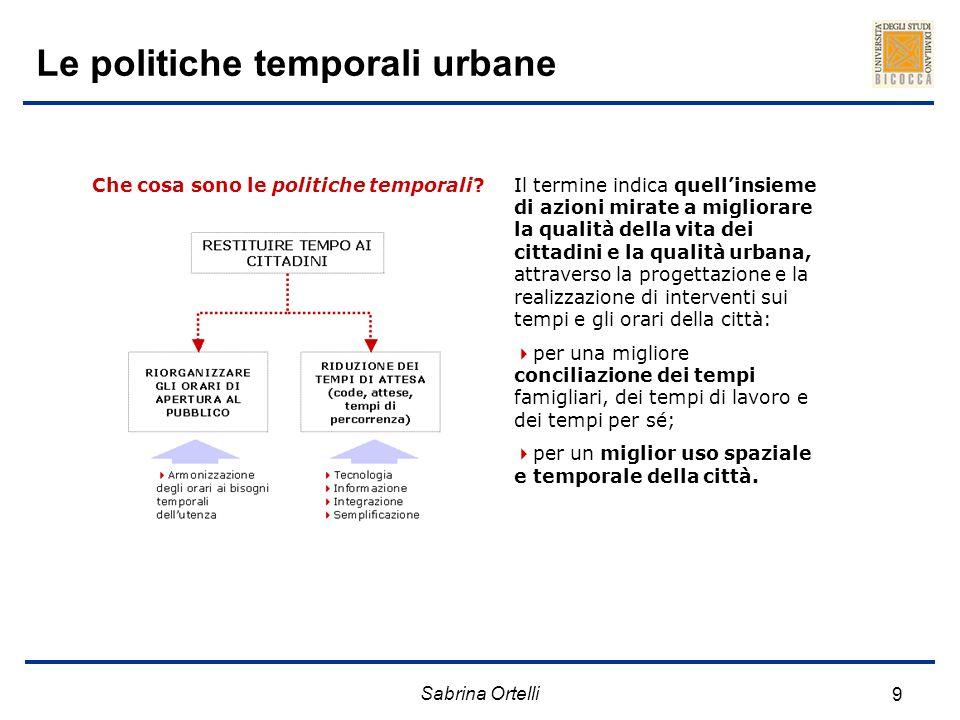 Sabrina Ortelli 9 Le politiche temporali urbane Che cosa sono le politiche temporali?Il termine indica quellinsieme di azioni mirate a migliorare la q