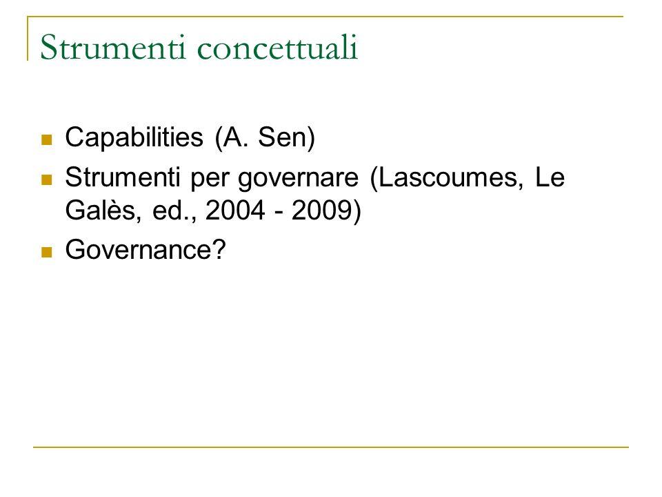 Strumenti concettuali Capabilities (A. Sen) Strumenti per governare (Lascoumes, Le Galès, ed., 2004 - 2009) Governance?