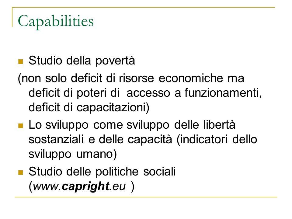 Capabilities Studio della povertà (non solo deficit di risorse economiche ma deficit di poteri di accesso a funzionamenti, deficit di capacitazioni) L