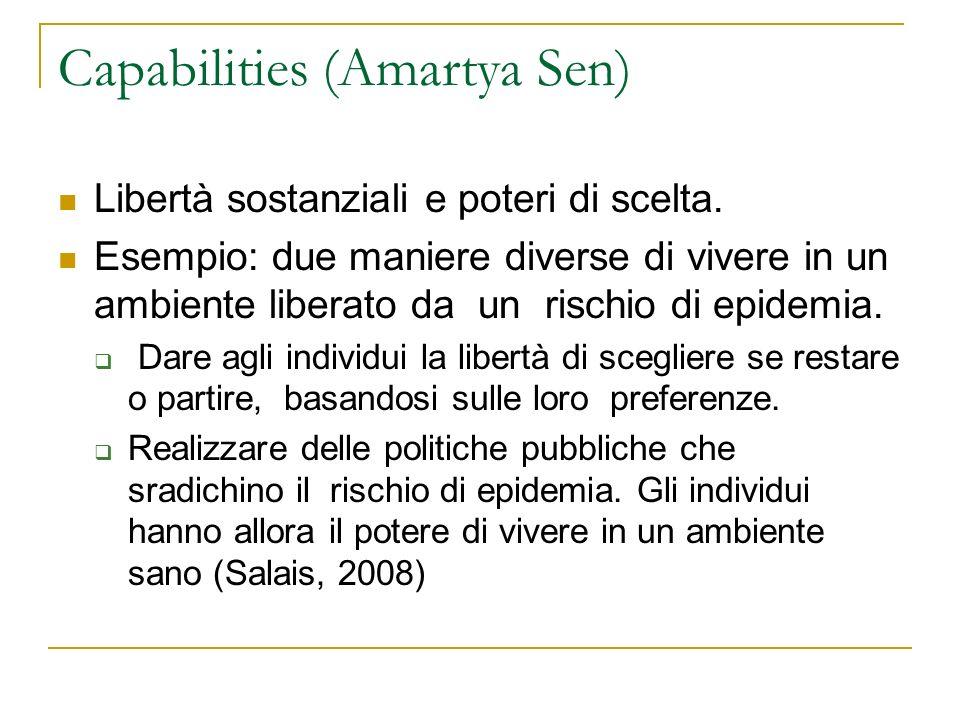Capabilities (Amartya Sen) Libertà sostanziali e poteri di scelta. Esempio: due maniere diverse di vivere in un ambiente liberato da un rischio di epi