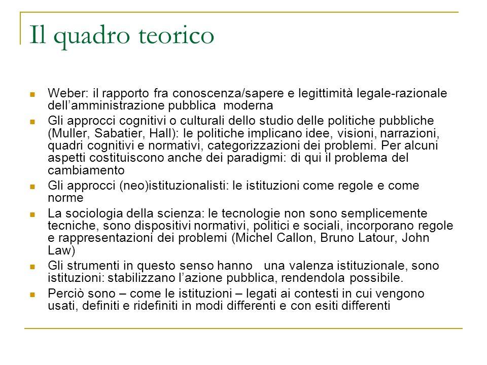 Il quadro teorico Weber: il rapporto fra conoscenza/sapere e legittimità legale-razionale dellamministrazione pubblica moderna Gli approcci cognitivi