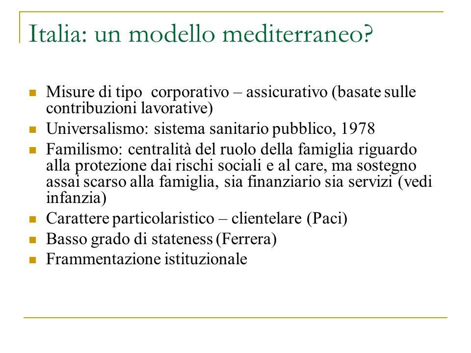Italia: un modello mediterraneo? Misure di tipo corporativo – assicurativo (basate sulle contribuzioni lavorative) Universalismo: sistema sanitario pu