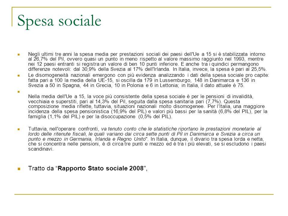 Spesa sociale Negli ultimi tre anni la spesa media per prestazioni sociali dei paesi dell'Ue a 15 si è stabilizzata intorno al 26,7% del Pil, ovvero q