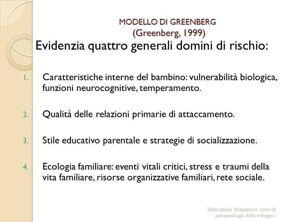 MODELLO DI GREENBERG (Greenberg, 1999) Evidenzia quattro generali domini di rischio: 1.