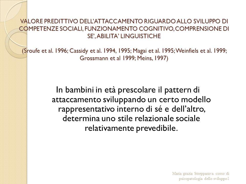 VALORE PREDITTIVO DELLATTACCAMENTO RIGUARDO ALLO SVILUPPO DI COMPETENZE SOCIALI, FUNZIONAMENTO COGNITIVO, COMPRENSIONE DI SE, ABILITA LINGUISTICHE (Sroufe et al.