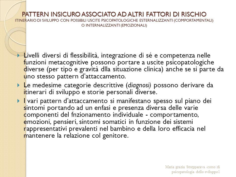 PATTERN INSICURO ASSOCIATO AD ALTRI FATTORI DI RISCHIO ITINERARIO DI SVILUPPO CON POSSIBILI USCITE PSICOPATOLOGICHE ESTERNALIZZANTI (COMPORTAMENTALI) O INTERNALIZZANTI (EMOZIONALI) Livelli diversi di flessibilità, integrazione di sé e competenza nelle funzioni metacognitive possono portare a uscite psicopatologiche diverse (per tipo e gravità dlla situazione clinica) anche se si parte da uno stesso pattern dattaccamento.