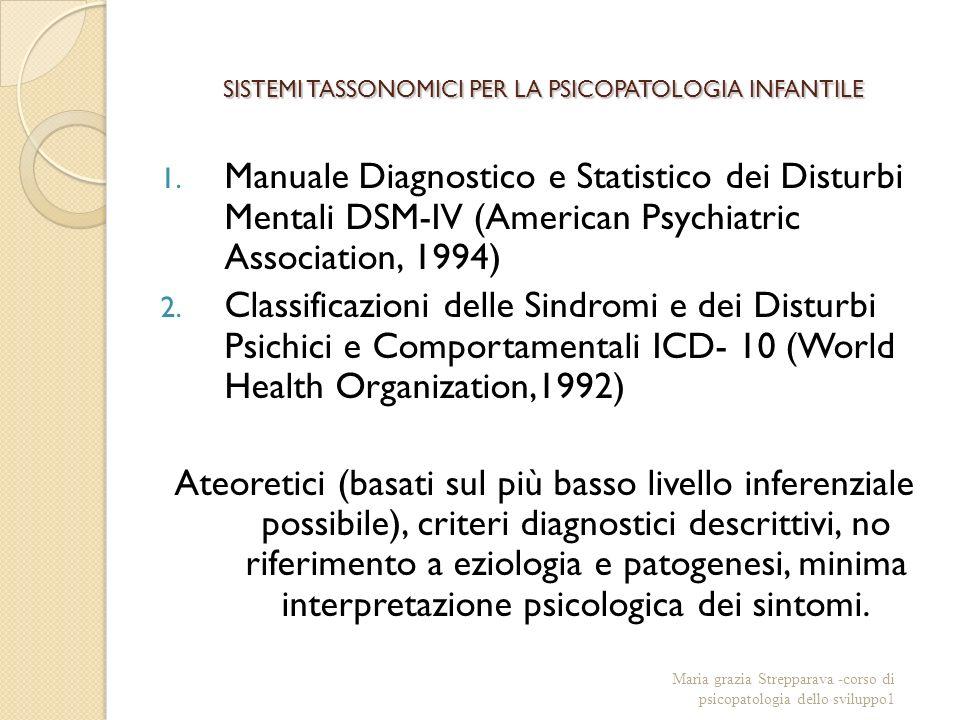 SISTEMI TASSONOMICI PER LA PSICOPATOLOGIA INFANTILE 1.