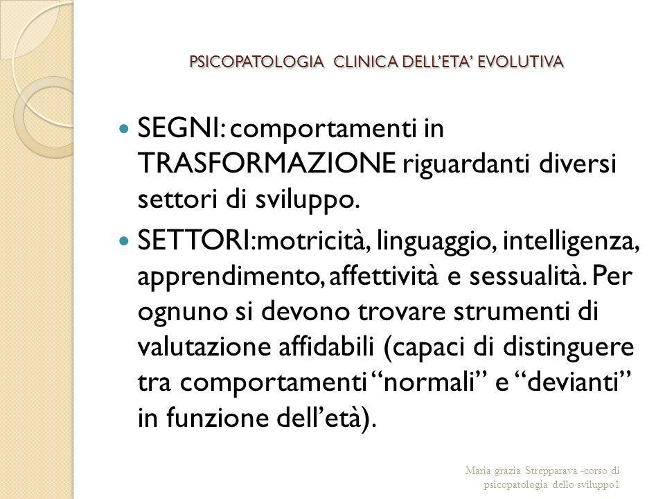 PSICOPATOLOGIA CLINICA DELLETA EVOLUTIVA SEGNI: comportamenti in TRASFORMAZIONE riguardanti diversi settori di sviluppo.
