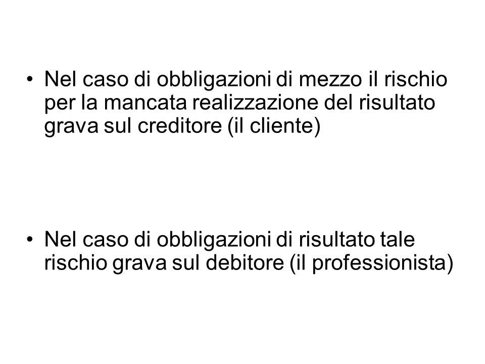 Nel caso di obbligazioni di mezzo il rischio per la mancata realizzazione del risultato grava sul creditore (il cliente) Nel caso di obbligazioni di risultato tale rischio grava sul debitore (il professionista)