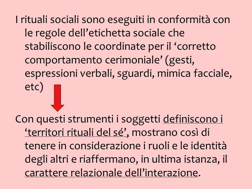I rituali sociali sono eseguiti in conformità con le regole delletichetta sociale che stabiliscono le coordinate per il corretto comportamento cerimon
