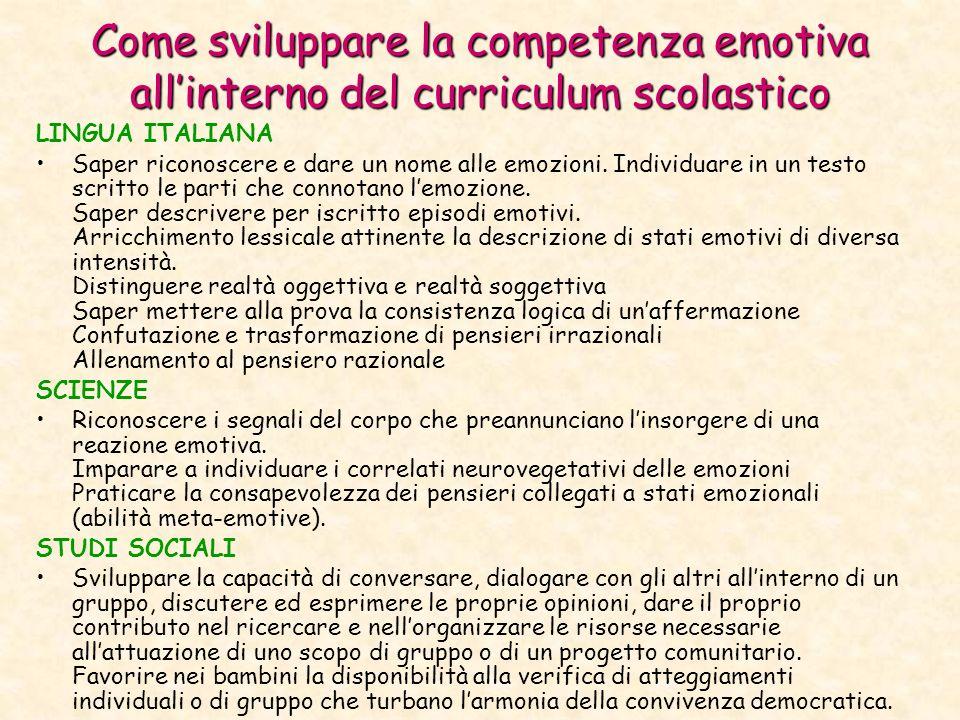 Come sviluppare la competenza emotiva allinterno del curriculum scolastico LINGUA ITALIANA Saper riconoscere e dare un nome alle emozioni.