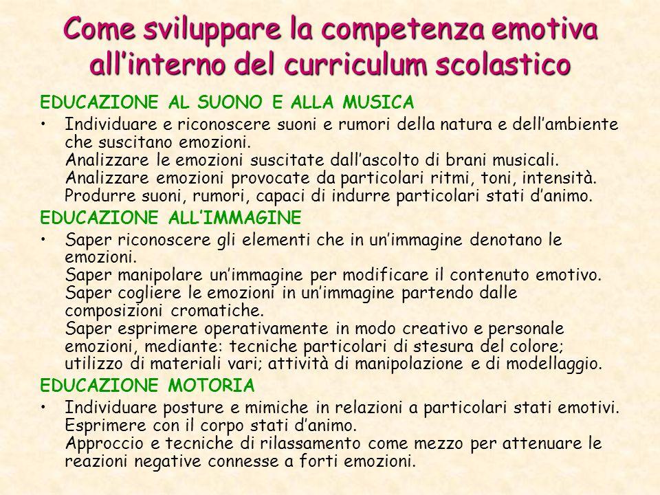 Come sviluppare la competenza emotiva allinterno del curriculum scolastico EDUCAZIONE AL SUONO E ALLA MUSICA Individuare e riconoscere suoni e rumori della natura e dellambiente che suscitano emozioni.