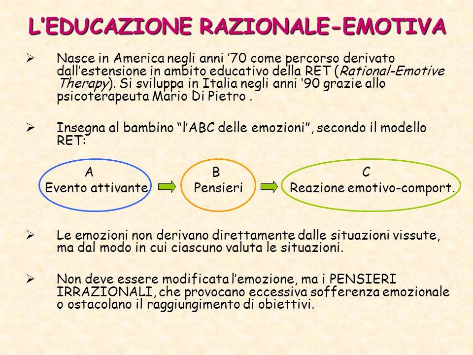 LEDUCAZIONE RAZIONALE-EMOTIVA Nasce in America negli anni 70 come percorso derivato dallestensione in ambito educativo della RET (Rational-Emotive Therapy).