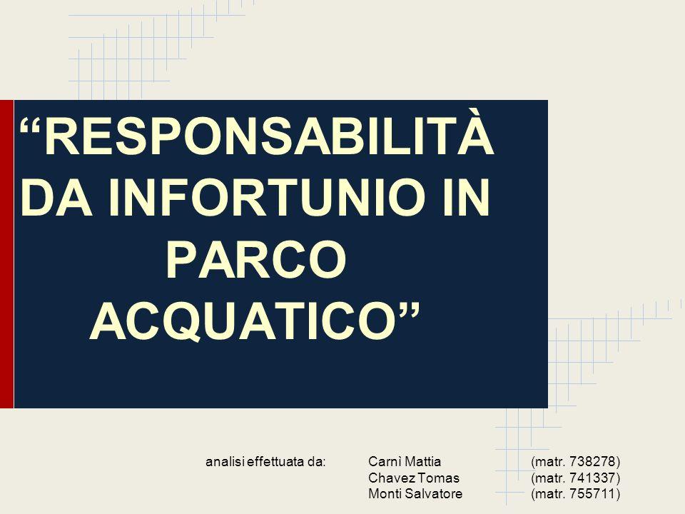RESPONSABILITÀ DA INFORTUNIO IN PARCO ACQUATICO analisi effettuata da: Carnì Mattia (matr. 738278) Chavez Tomas(matr. 741337) Monti Salvatore (matr. 7