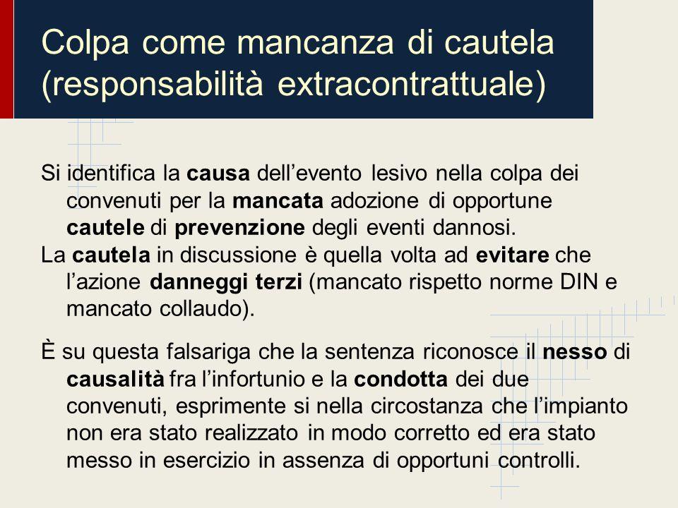 Colpa come mancanza di cautela (responsabilità extracontrattuale) Si identifica la causa dellevento lesivo nella colpa dei convenuti per la mancata ad