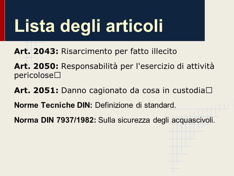 Lista degli articoli Art. 2043: Risarcimento per fatto illecito Art. 2050: Responsabilità per l'esercizio di attività pericolose Art. 2051: Danno cagi
