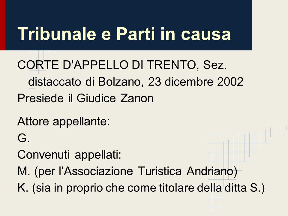 Tribunale e Parti in causa CORTE D'APPELLO DI TRENTO, Sez. distaccato di Bolzano, 23 dicembre 2002 Presiede il Giudice Zanon Attore appellante: G. Con