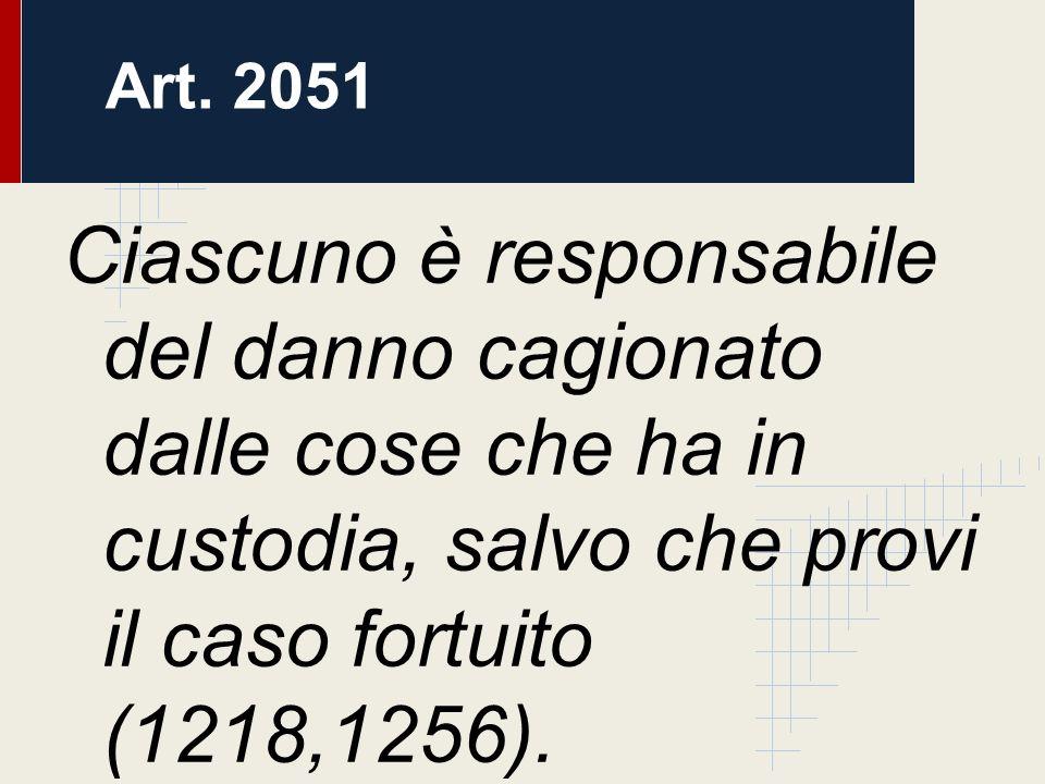 Ciascuno è responsabile del danno cagionato dalle cose che ha in custodia, salvo che provi il caso fortuito (1218,1256). Art. 2051