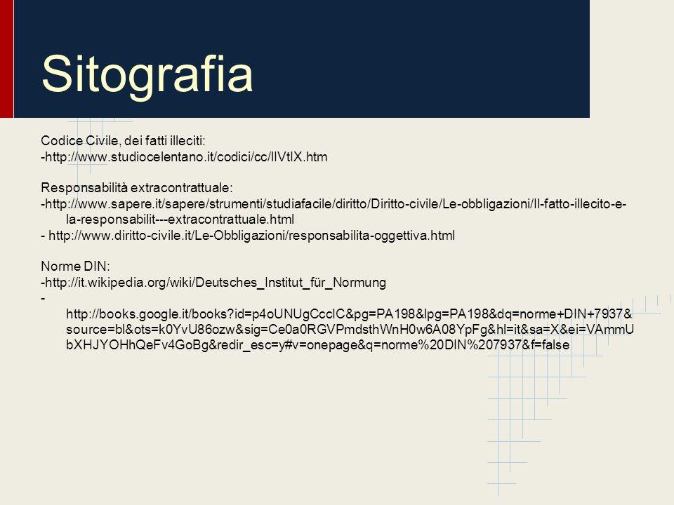 Sitografia Codice Civile, dei fatti illeciti: -http://www.studiocelentano.it/codici/cc/lIVtIX.htm Responsabilità extracontrattuale: -http://www.sapere