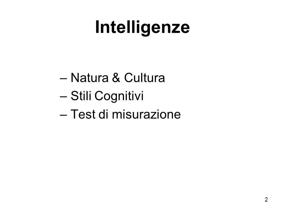 2 Intelligenze – Natura & Cultura – Stili Cognitivi – Test di misurazione
