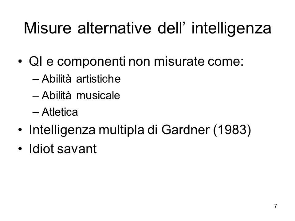 7 Misure alternative dell intelligenza QI e componenti non misurate come: –Abilità artistiche –Abilità musicale –Atletica Intelligenza multipla di Gar