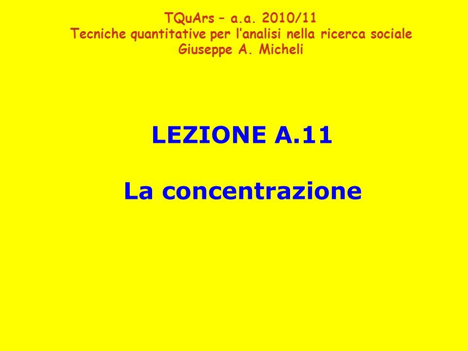 LEZIONE A.11 La concentrazione TQuArs – a.a. 2010/11 Tecniche quantitative per lanalisi nella ricerca sociale Giuseppe A. Micheli