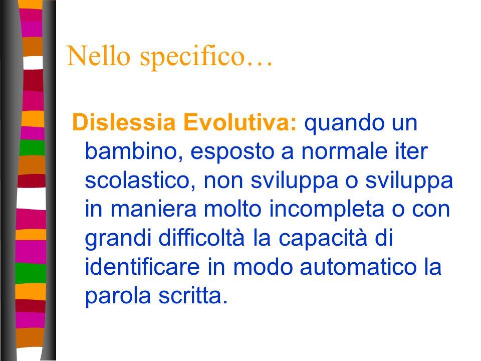 11 Nello specifico… Dislessia Evolutiva: quando un bambino, esposto a normale iter scolastico, non sviluppa o sviluppa in maniera molto incompleta o c