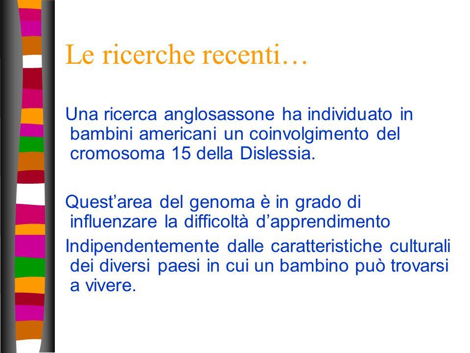 15 Le ricerche recenti… Una ricerca anglosassone ha individuato in bambini americani un coinvolgimento del cromosoma 15 della Dislessia. Questarea del
