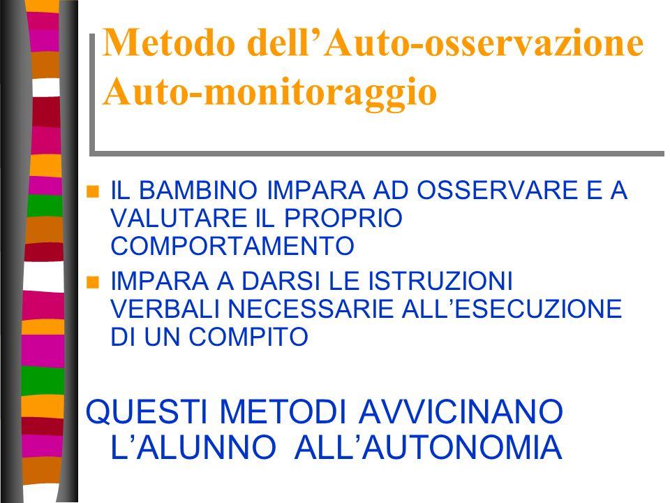 31 Metodo dellAuto-osservazione Auto-monitoraggio IL BAMBINO IMPARA AD OSSERVARE E A VALUTARE IL PROPRIO COMPORTAMENTO IMPARA A DARSI LE ISTRUZIONI VE