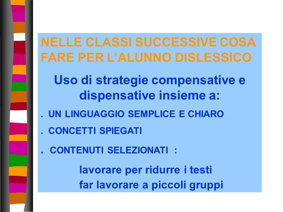 38 NELLE CLASSI SUCCESSIVE COSA FARE PER LALUNNO DISLESSICO Uso di strategie compensative e dispensative insieme a:. UN LINGUAGGIO SEMPLICE E CHIARO.