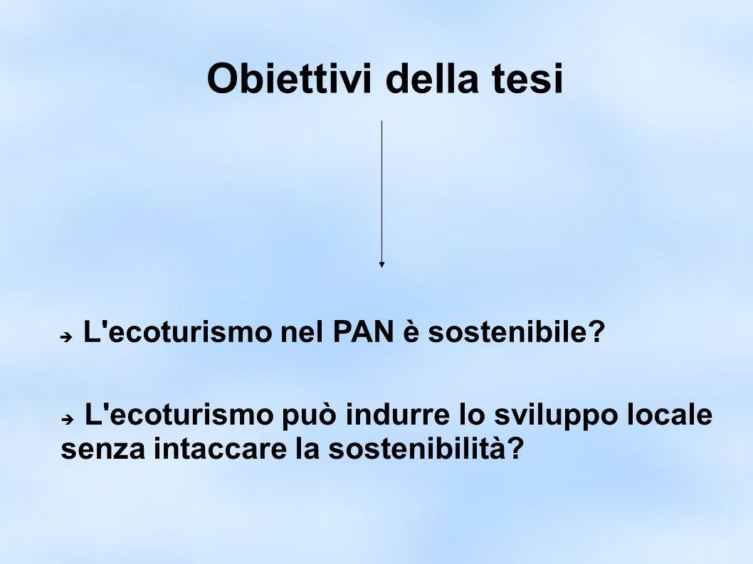 Obiettivi della tesi L ecoturismo nel PAN è sostenibile.