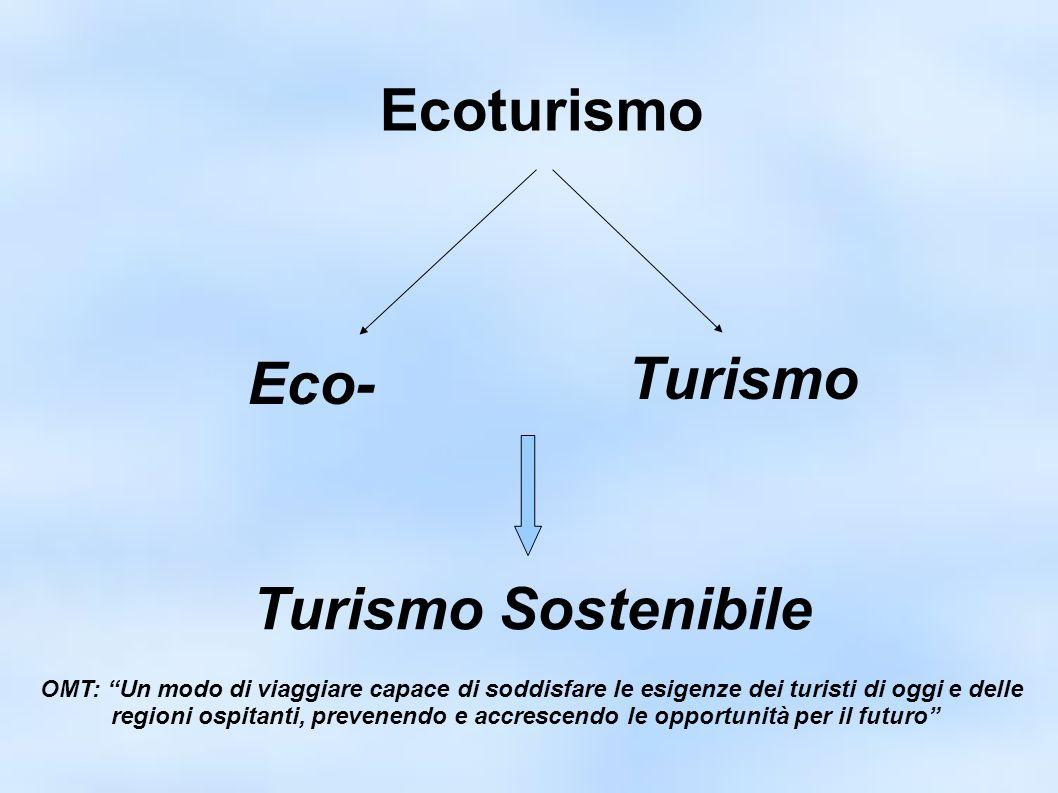 Ecoturismo Eco- Turismo Turismo Sostenibile OMT: Un modo di viaggiare capace di soddisfare le esigenze dei turisti di oggi e delle regioni ospitanti, prevenendo e accrescendo le opportunità per il futuro