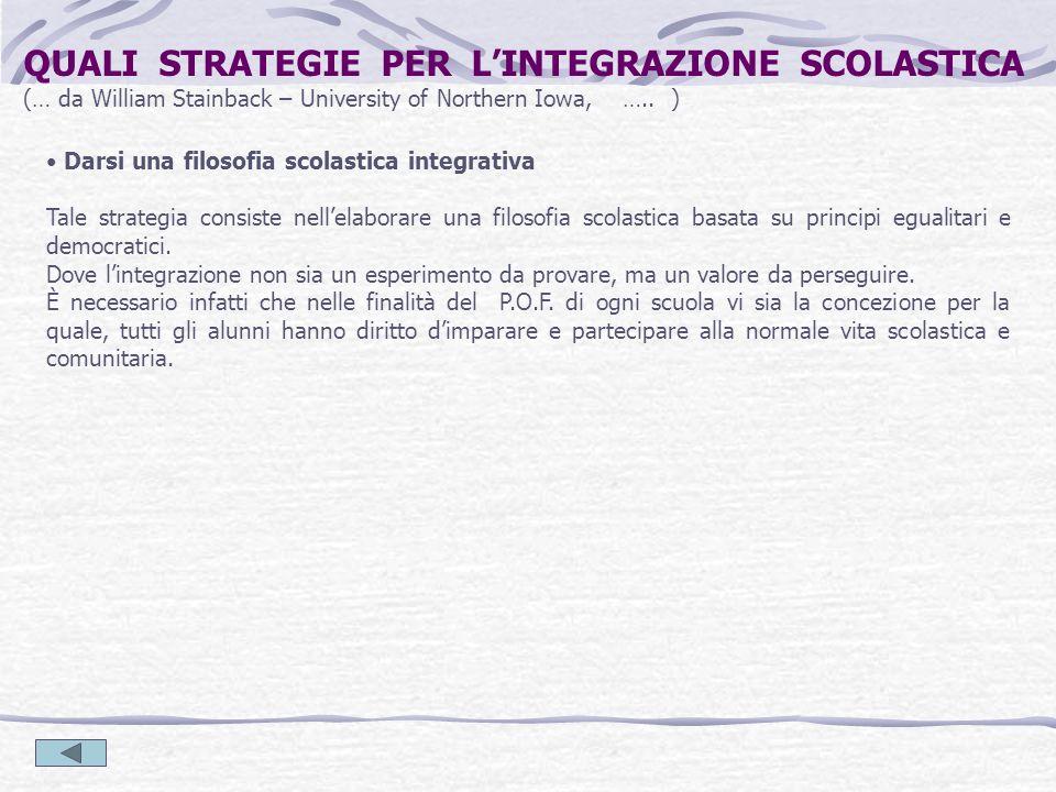Darsi una filosofia scolastica integrativa Tale strategia consiste nellelaborare una filosofia scolastica basata su principi egualitari e democratici.