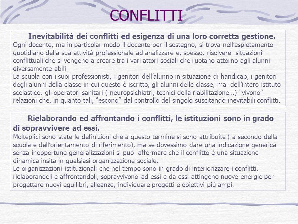 CONFLITTI Inevitabilità dei conflitti ed esigenza di una loro corretta gestione. Ogni docente, ma in particolar modo il docente per il sostegno, si tr