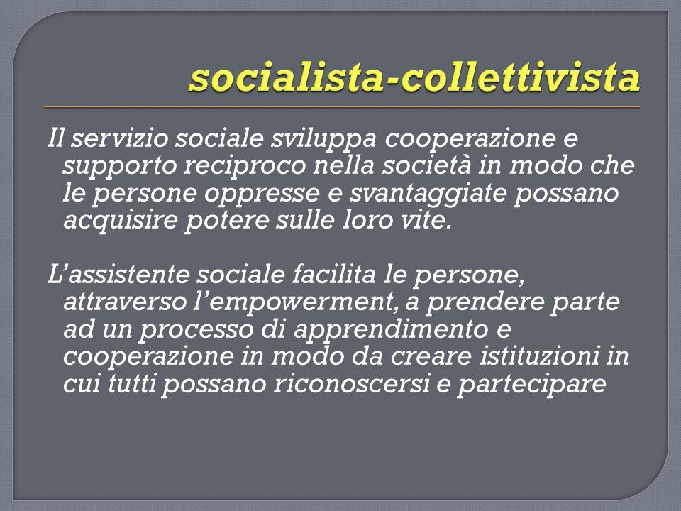 Il servizio sociale sviluppa cooperazione e supporto reciproco nella società in modo che le persone oppresse e svantaggiate possano acquisire potere sulle loro vite.