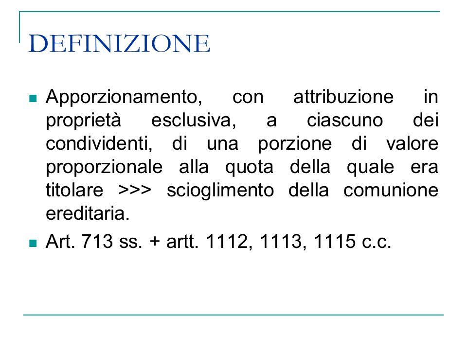 IL C.D.ASSEGNO DIVISIONALE SEMPLICE Art. 733 comma 1 Norme date dal testatore per la divisione.