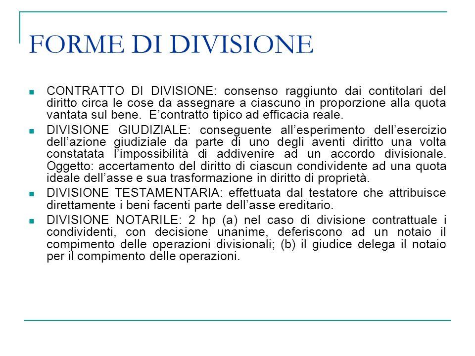DIVISIONE EEREDITARIA SOGGETTI: tutti i coeredi ovvero i loro successori a titolo universale oppure particolare.