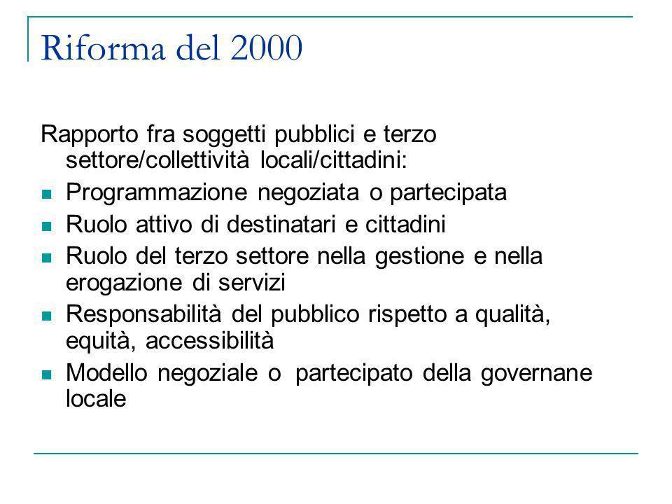 Riforma del 2000 Rapporto fra soggetti pubblici e terzo settore/collettività locali/cittadini: Programmazione negoziata o partecipata Ruolo attivo di
