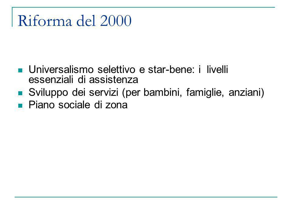 Riforma del 2000 Universalismo selettivo e star-bene: i livelli essenziali di assistenza Sviluppo dei servizi (per bambini, famiglie, anziani) Piano s