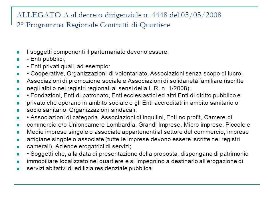 ALLEGATO A al decreto dirigenziale n. 4448 del 05/05/2008 2° Programma Regionale Contratti di Quartiere I soggetti componenti il parternariato devono
