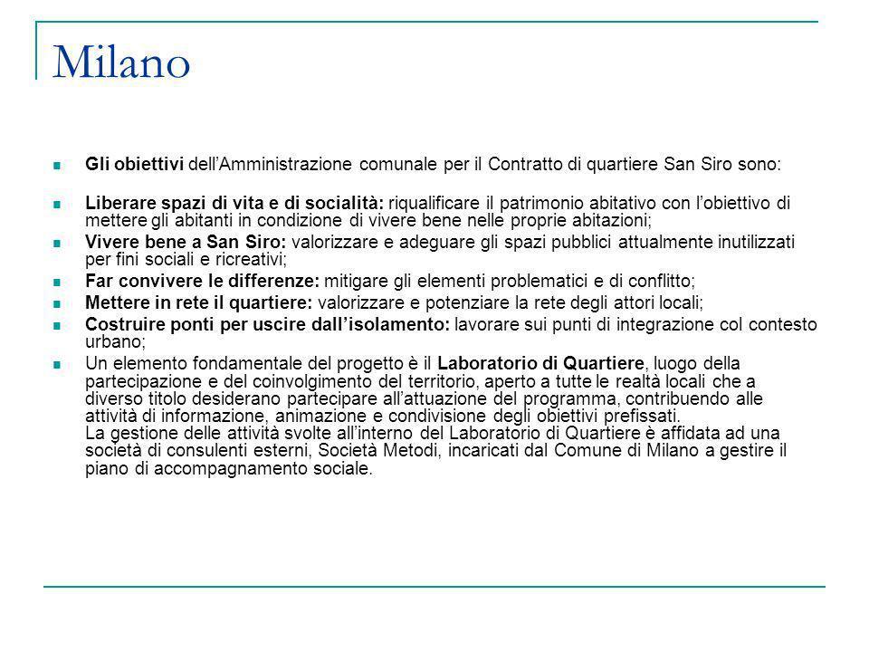 Milano Gli obiettivi dellAmministrazione comunale per il Contratto di quartiere San Siro sono: Liberare spazi di vita e di socialità: riqualificare il