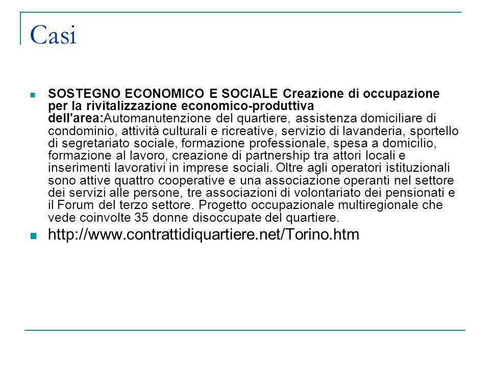 Casi SOSTEGNO ECONOMICO E SOCIALE Creazione di occupazione per la rivitalizzazione economico-produttiva dell'area:Automanutenzione del quartiere, assi