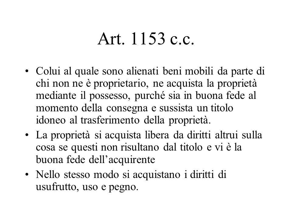 Art. 1153 c.c. Colui al quale sono alienati beni mobili da parte di chi non ne è proprietario, ne acquista la proprietà mediante il possesso, purché s