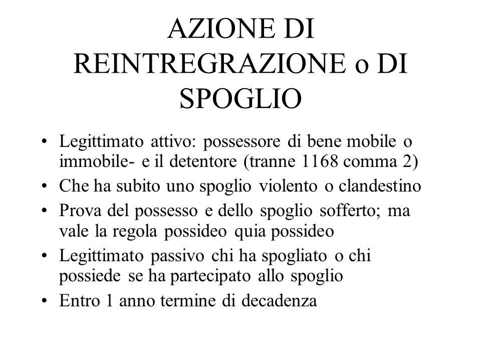 AZIONE DI REINTREGRAZIONE o DI SPOGLIO Legittimato attivo: possessore di bene mobile o immobile- e il detentore (tranne 1168 comma 2) Che ha subito un