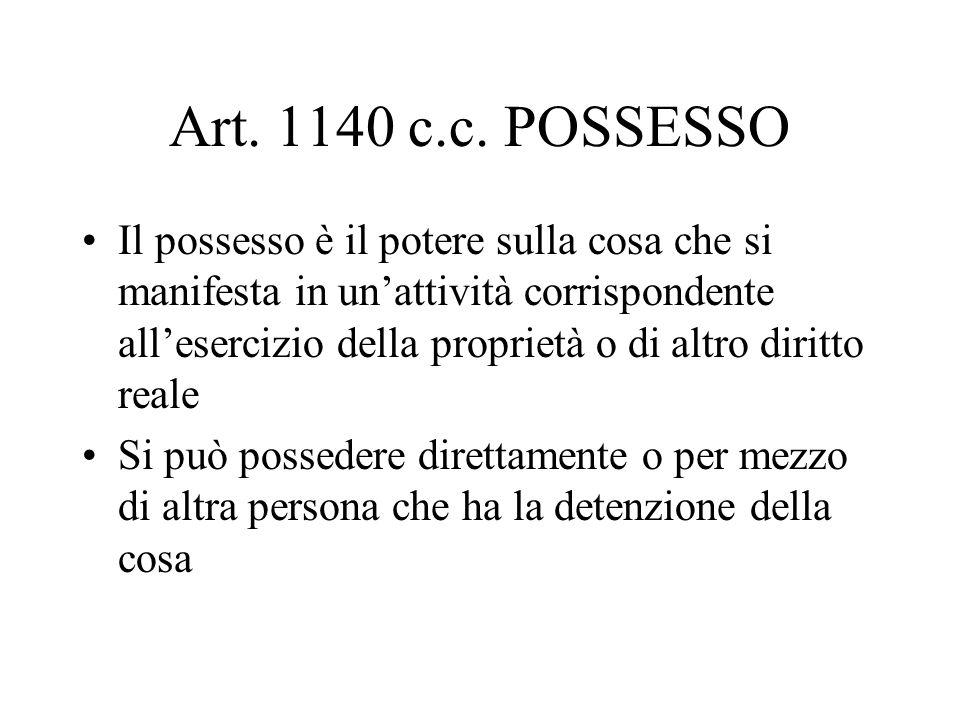 Art. 1140 c.c. POSSESSO Il possesso è il potere sulla cosa che si manifesta in unattività corrispondente allesercizio della proprietà o di altro dirit