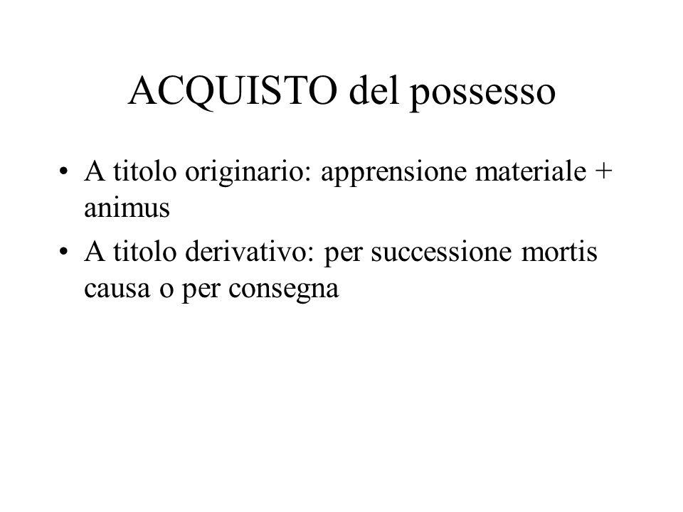 ACQUISTO del possesso A titolo originario: apprensione materiale + animus A titolo derivativo: per successione mortis causa o per consegna