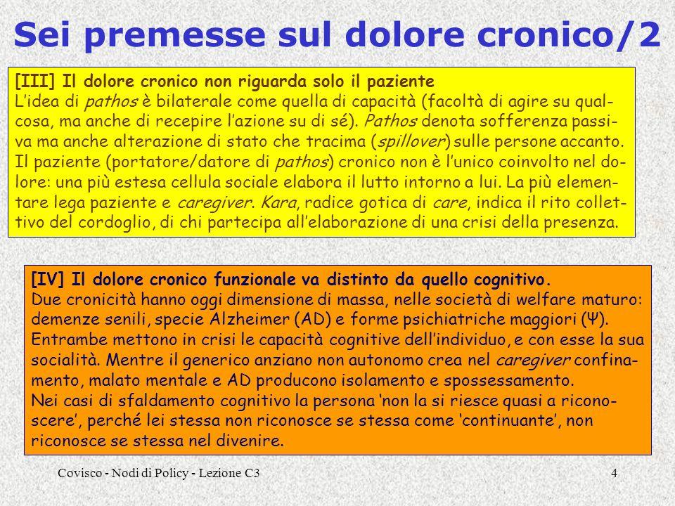 Covisco - Nodi di Policy - Lezione C34 Sei premesse sul dolore cronico/2 [III] Il dolore cronico non riguarda solo il paziente Lidea di pathos è bilaterale come quella di capacità (facoltà di agire su qual- cosa, ma anche di recepire lazione su di sé).