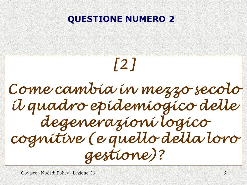 Covisco - Nodi di Policy - Lezione C36 QUESTIONE NUMERO 2 [2] Come cambia in mezzo secolo il quadro epidemiogico delle degenerazioni logico cognitive (e quello della loro gestione)
